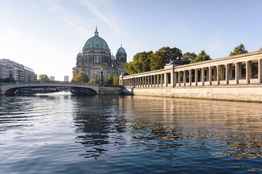 berlin cathedral at sunrise Architecture Architecture Berlin Berlin Cathedral Berliner Dom Bridge - Man Made Structure Building Exterior City Cityscape Day Daytime Dome Germany International Landmark New Day No People Outdoors Politics And Government Religion Sightseeing Sky Spree River Berlin Sunrise Travel Destinations Water