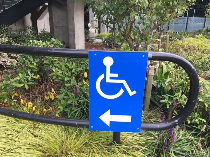 Wheelchair sign and directions Garden Wheelchair Access Wheelchair Sign Blue Sign Communication Disabled Access Disabled Sign Information