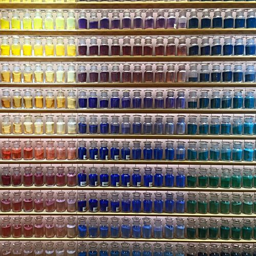 Yellow Blue Green In A Row Full Frame Backgrounds Large Group Of Objects Pigment Paint Japan Tokyo's Abundance Shelf Variation Indoors  No People Choice Retail  Multi Colored Store Day