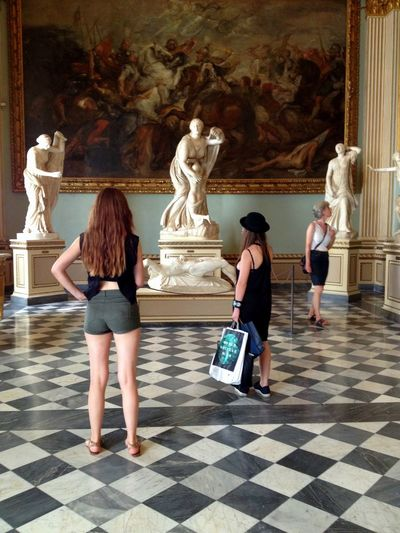 Uffizi Art Art And Craft Casual Clothing Creativity Day Human Representation In Front Of Indoors  Leisure Activity Lifestyles Mask - Disguise Museum Person Place Of Worship Religion Sculpture Spirituality Statue Temple - Building Tile Uffizi Uffizigallery