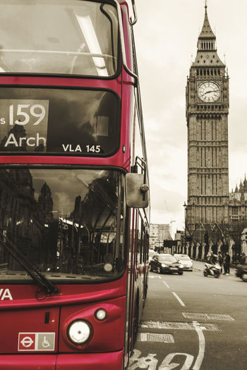 Bigben Bus Buses Red Red Bus Road Sepia Westminster