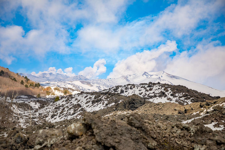 Etna Volcano Crater Mountain Winter Snow Sicily Italy Ash Sky Cloud - Sky Beauty In Nature Scenics - Nature Tranquil Scene Landscape Environment Cold Temperature Nature Tranquility Day Non-urban Scene No People Mountain Range Snowcapped Mountain Rock Outdoors Mountain Peak