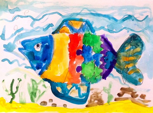Child Drawing Fish Hand Drawing Drawing Picture Child Paint Multi Colored Watercolor Painting Colorful Imagination Sea Underwater Underwater World Animal No People Illustration Abstract Pattern Creativity Painted Image Алекс рисует Alex Drawing 7 Years Old 4 lesson