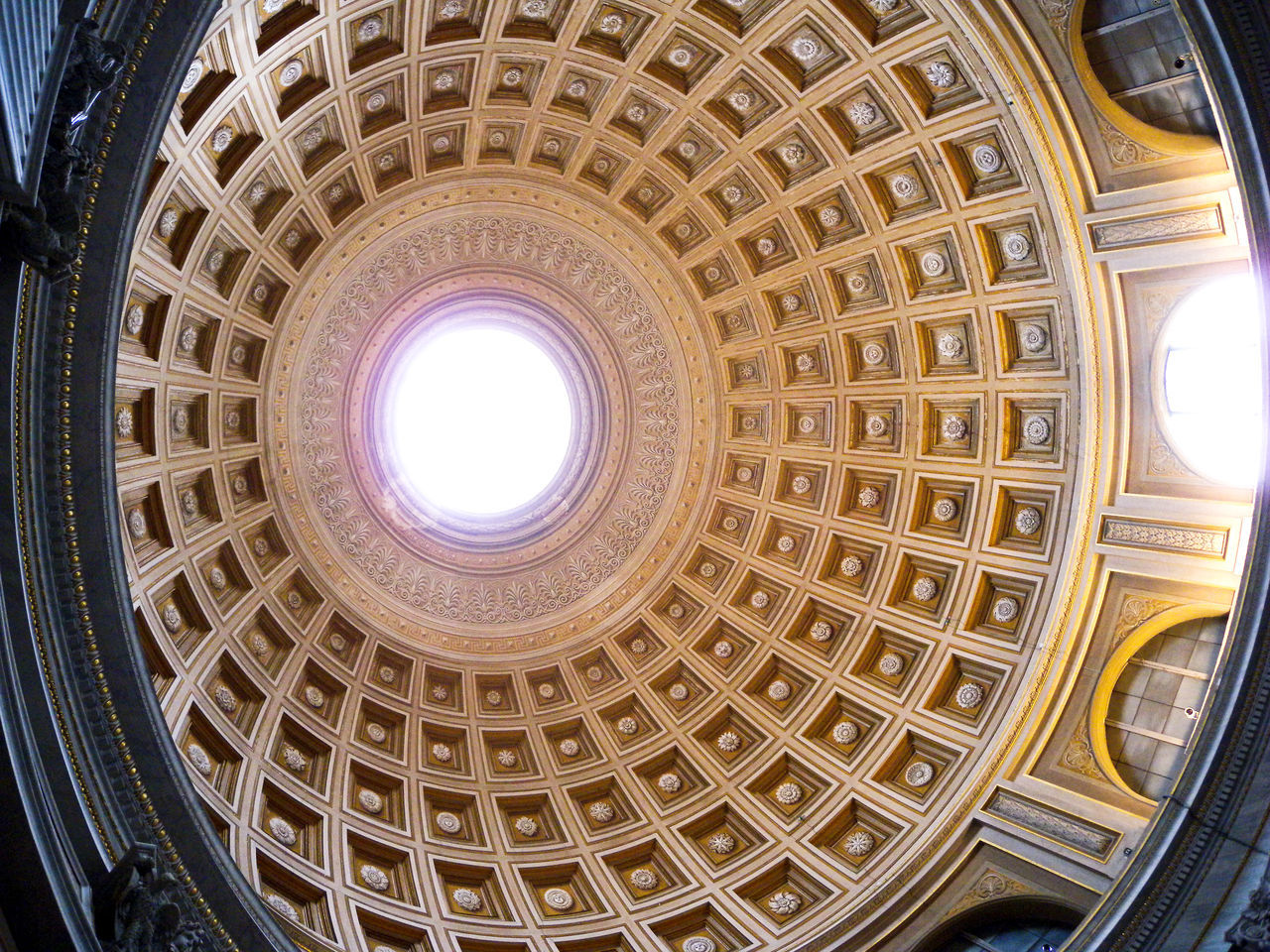 architecture, dome, indoors, built structure, history, architectural feature, low angle view, travel destinations, cupola, no people, illuminated, architectural design, day