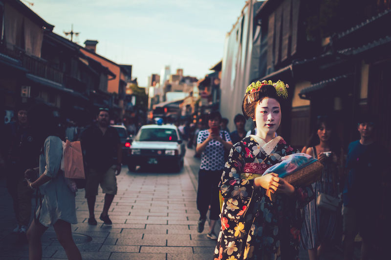 Adult Architecture Building Exterior Built Structure City Day Geisha Highlight Japan Japan Photography Lifestyles One Person Outdoors People Rare Real People Standing Street Traditional Women Young Adult Young Women