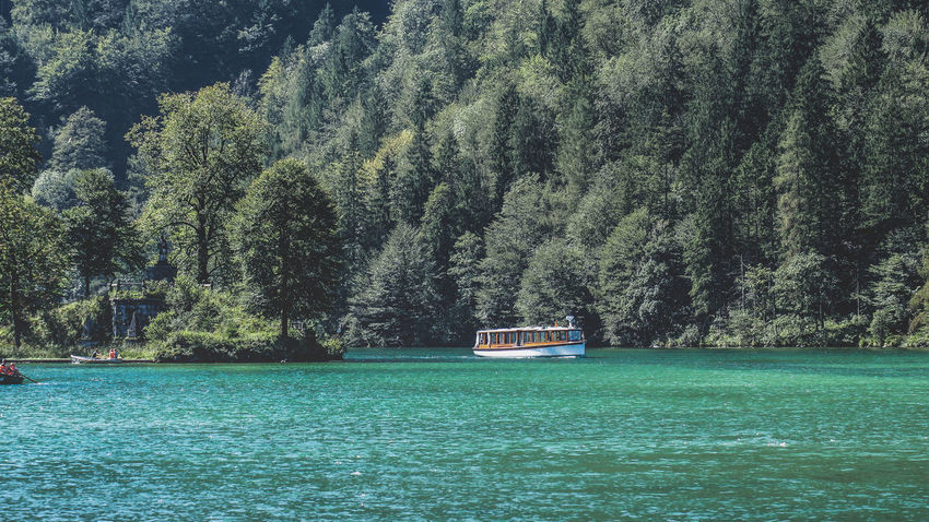 A tourist boat cruising next to the bank of a stunning lake in Germany Cruise Ship Tourist Trees Beauty In Nature Boat Day Forest Green Color Growth Lake Lakeshore Mountain Nature Nautical Vessel No People Outdoors Scenics Sky Tranquil Scene Tranquility Transportation Tree Water Waterfront