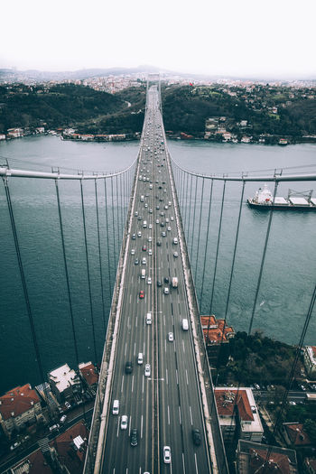 Istanbul Sultan Mehmet Bridge Ship Sea River Travel Istanbul Turkey Bridge Sultan Mehmet City Water High Drone  Air Climb Turkish Car Small Miniature Water Day Outdoors No People Bridge - Man Made Structure Nature An Eye For Travel