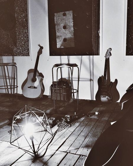 Guitar on table