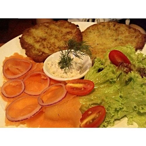 Idontknowwhatitsname Sharon had this for Dinner at Blackforestresto Germanresto in bukitbintang kualalumpur yum yummy foodgasm foodporn germanfood germancuisines latepost salmon potatopancake