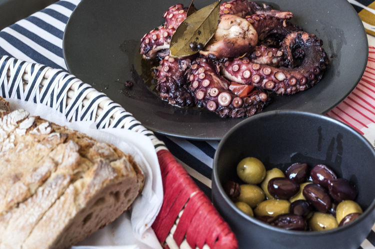 Octopus cooked with red wine, vinegar, bay leafs,Indian pepper, olive oil... Fasting Food Food Photography Foodphotography Greek Cuisine Greek Food High Angle View Visual Feast Octopus Recipe