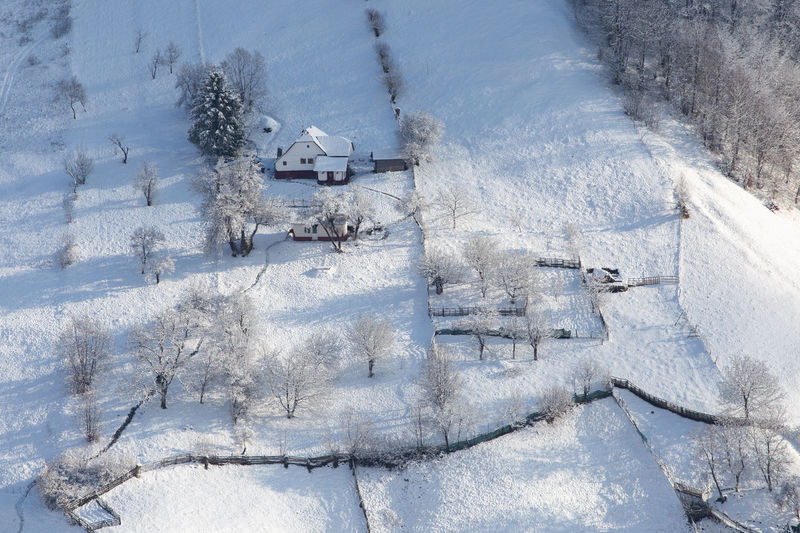 High angle view of snow covered land
