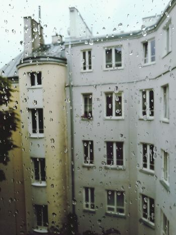 Raindrops Rain Rainy Days Gloomy Tenement Houses Ochota Warszawa