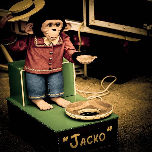 Monkey Collection Box Abstract Art Creepy Jacko Lifestyles Monkey Monkey Holding Hat Old Paula Puncher Square Stuffed Monkey!! Vintage Warm Colours