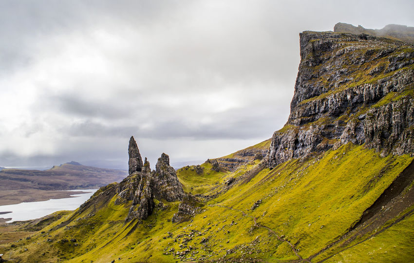 Old Man of Storr, Isle of Skye, Scotland Love it! Beauty In Nature Bouldering Climbing Cloud - Sky Cloudy Green Color Hiking Hill Isle Of Skye Landscape Mountain Mountain Range Nature Non-urban Scene Old Man Of Storr Outdoors Scenics Scotland Sightseeing Sky Skye Storr Travel Destinations Wanderlust Weather