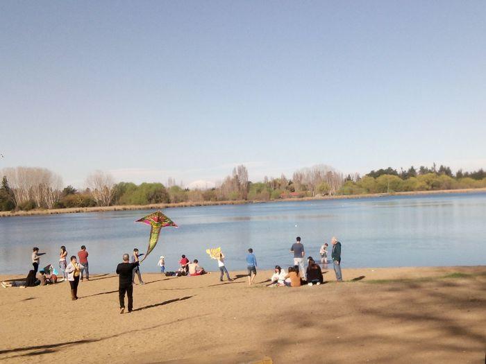 People at lakeshore