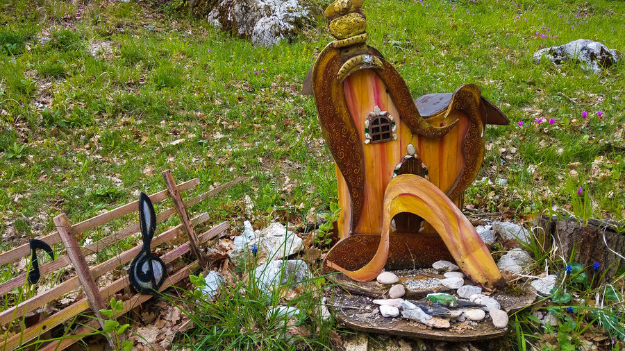 Harp house of the gnome in the forest, Sefro, Italy House Gnome Forest Wood Notes Magic Enchanted  Elf Wooden Harp Music Musical Instrument Sefro Marche Secret Il Segreto Del Bosco Italy Europe Card Wallpaper Meadow Outdoor Travel Destinations Travel Trekking Village Little Small Fantastic Amazing View Brown Green Color Outdoors Nature Field Grass Land No People Day Wood - Material Flower Representation Beauty In Nature
