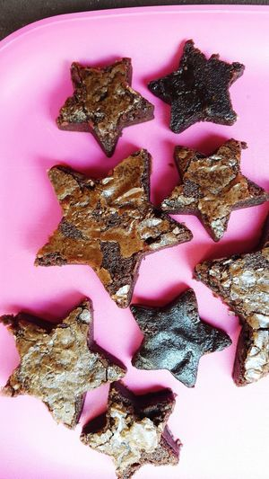 Brownies Homemade Kids In The Kitchen Cooking At Home Cooking Baked Goods Chocolate Made By Kids Pink Color Beach Close-up Sweet Food Served Prepared Food Pastry Star Shape Serving Size Pink Background
