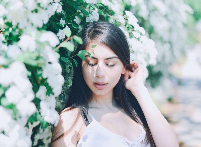 Hair Lifestyles Long Hair Eyes Closed  Young Women