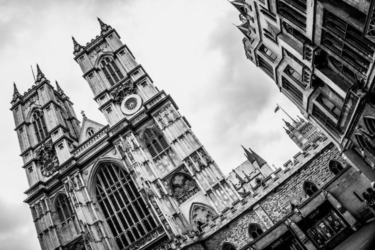 Arch Architecture Building Exterior Built Structure Cathedral Church City Clock Tower Cloud - Sky Day Famous Place Gothic Style Low Angle View Nasmgraphia Outdoors Place Of Worship Religion Monochrome Photography Spire  Spirituality Steeple Tall - High Tower Travel Destinations Westminster