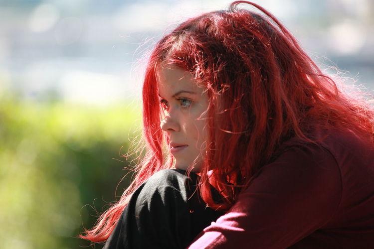 Close-up of beautiful redhead woman