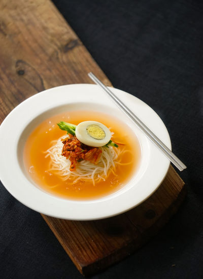 Asia Cuisine Bowl Close-up Day Egg Yolk Food Food And Drink Freshness Healthy Eating High Angle View Indoors  Kimchi Korean Cuisine Korean Food Korean Kimchi Noodle No People Noodle Ready-to-eat Soup Vertical