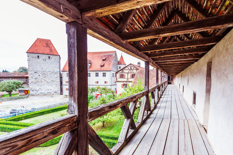 Burg Bavaria Burg Castle Gothic Renaissance Romantische Straße Agricultural Building Architecture Building Building Exterior Built Structure Ceiling Day Empty House Hut Nature No People Old Outdoors Railing Residential District Romantisch Roof Roof Beam Sky Typisch Wood Wood - Material