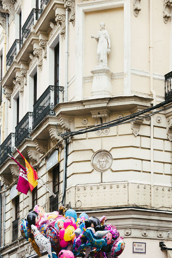 Architecture Art And Craft Balcony Balloons Building Building Exterior Calle Ancha Low Angle View SPAIN Statue Wall - Building Feature
