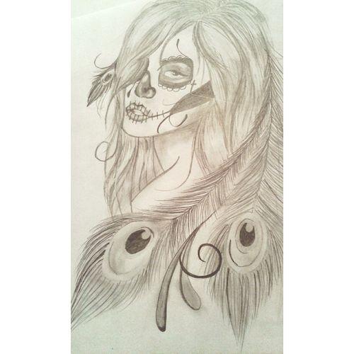 Skulls Skullwoman Drwaing Unfinished Work... Blak And White Tattoo