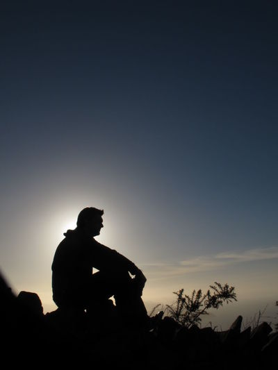 Silhouette Of Mid-Adult Man