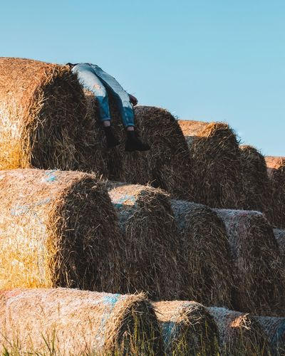 Low angle view of person lying on hay bales against clear sky