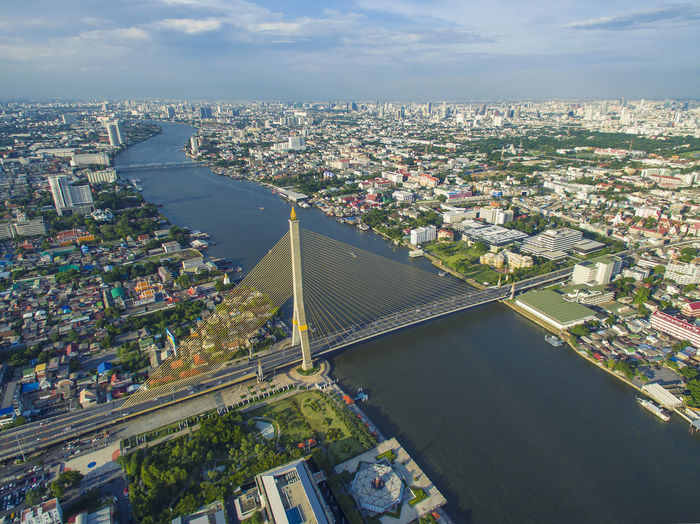Thailand Aerial View Architecture Bridge Bridge - Man Made Structure Building Building Exterior Built Structure City Cityscape Cloud - Sky Day High Angle View Landmark Nature No People Outdoors Sky Skyscraper Transportation Travel And Tourism Travel Destinations Water