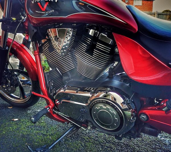 High angle view of motorcycle