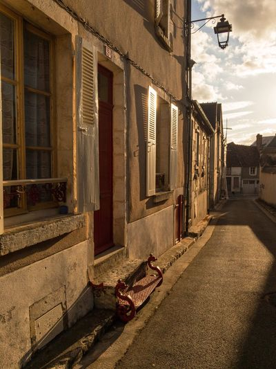 Evening in the old town Building Exterior Architecture Built Structure House Outdoors Day Sky No People Golden Hour Shadow And Light Steps Architecturephotography Narrow Street Burgundy, France Sancerre Residential Building Town City