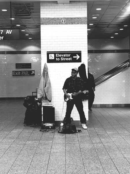 Hello from the otherside NYC Train Station Waiting For A Train Guitarist Shuttle Train Hello Adele