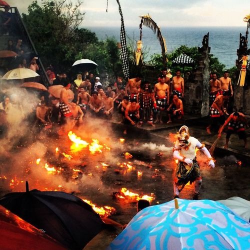 The best Fire Kecak Dance Show at Uluwatu Temple Bali Culture Sightseeing Awesome Holiday