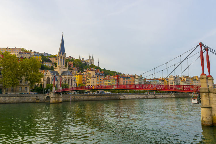 Bridge ver the River in City of Lyon, France. Church City Sunlight Sunny Tranquility Travel Aarchitecture Bridge - Man Made Structure Building Building Exterior Built Structure Color Connection Day Famous Place Full Frame House No People Outdoors River Sky Tower Travel Destinations Water