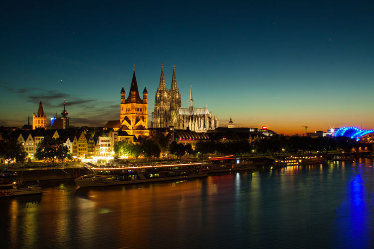 Blue Hour Cathedral Church Cityscape Cologne Kölner Dom Waterscape Architecture Belief Building Building Exterior City City Lights Illuminated Night Nightfall Place Of Worship Reflections River Sky Travel Destinations Water Waterfront