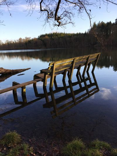 Do you want a seat.? Blue Water Reflection Lake Tree Tranquility Sky Nature Landscape Idyllic Tranquil Scene