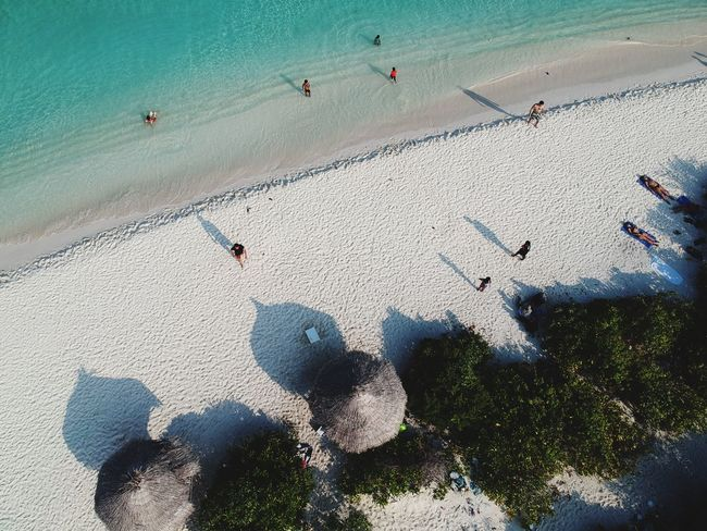 Aerial View Dronephotography Drone  Beach Beachhut Beach Sand High Angle View Outdoors Day Nature Shadow Water Summer Sea Beauty In Nature