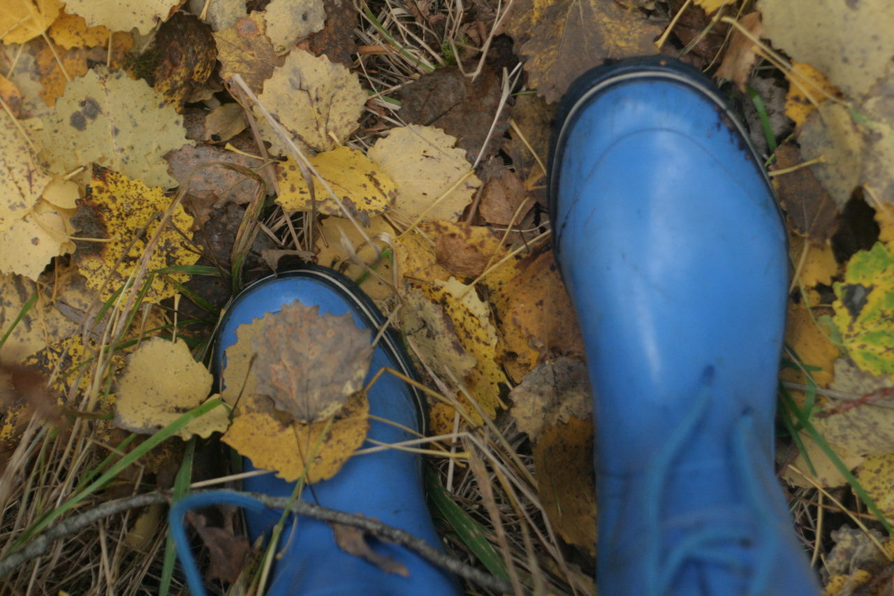 High Angle View Of Rubber Boots On Field
