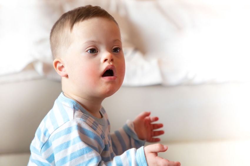 Babyboy Baby Babyhood Child Childhood Close-up Cute Down Syndrome Focus On Foreground Headshot Indoors  Innocence Lifestyles Looking Looking Away Mental Health  One Person Portrait Real People Toddler  Young