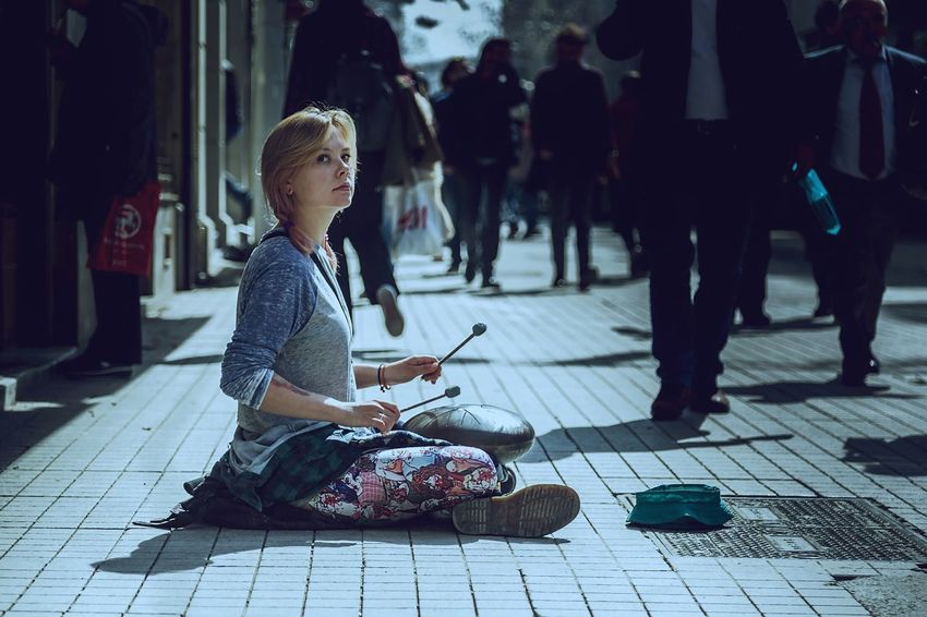 Alone in Istanbul not Kyoto.. Sitting One Person Music Musician Streetmusician Street Drum Hang Hangdrum Zentambour Art Eye4photography  Outdoor Outdoors Streetphotography Street Photography The Street Photographer - 2017 EyeEm Awards street art Streetart Drummer