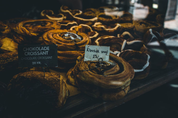 Close-up of sweet food in store