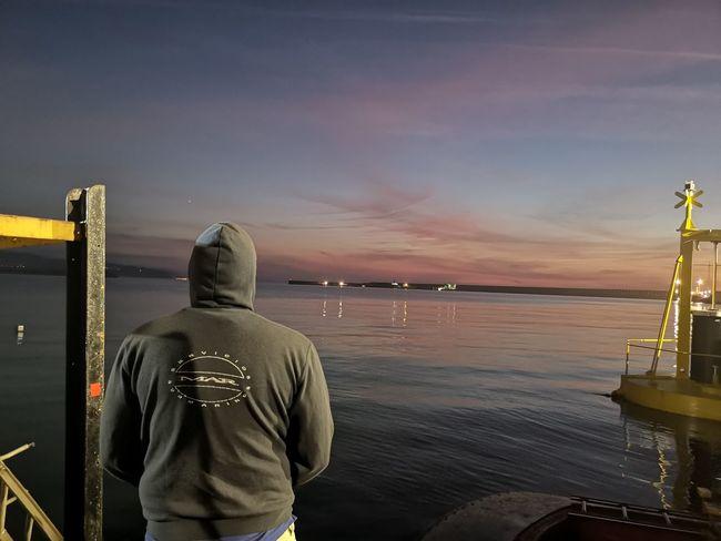 anochecer, Maritime. Mar Maritime Blue Marlin Buzo Standing Men Arts Culture And Entertainment Sea Rear View Sky
