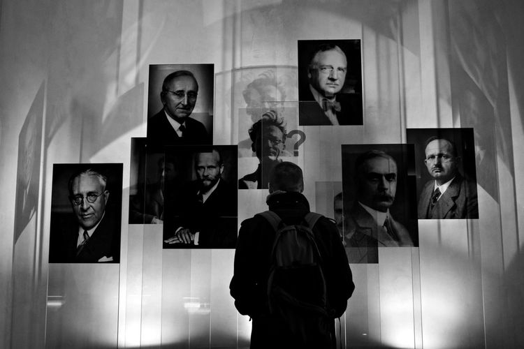 Technische Universität Wien Black And White Exhibition Famous People Graduation Human Representation Indoors  Light And Shadow Men Museum People Photograph Picture Frame Real People Representing Science Scientist Vienna Wien Young Adult
