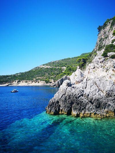 Greece Landscape Huawei Huaweip20pro Water Clear Sky Sea Beach Blue Tree Summer Rock - Object Sunny Yachting Refraction Rocky Coastline Lagoon Seascape Coast