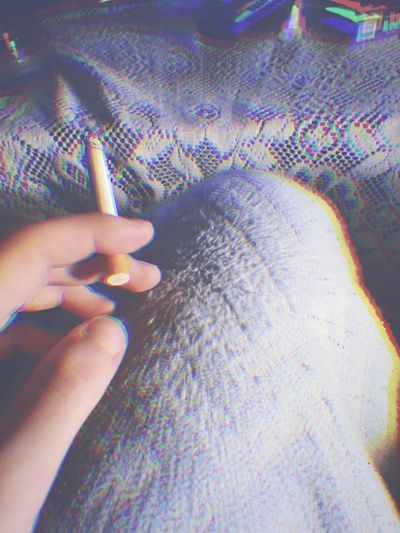 Blue Fingernail Extreme Close-up Personal Perspective Holding Cigarette  Smoke Trippy Trip Drugs Stoned High LSD Focus On Foreground Indoors  Blanket Table