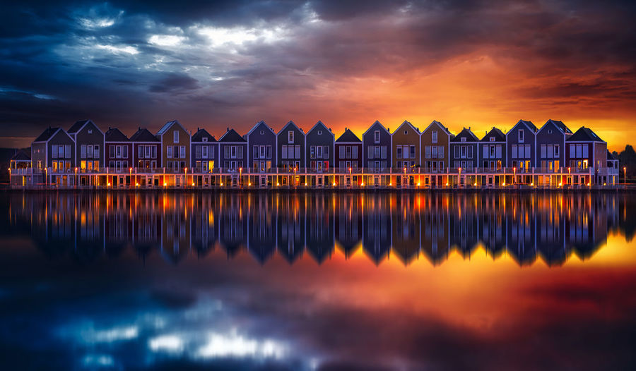 Remo SCarfo Houten Water Sky Architecture Cloud - Sky Reflection Built Structure Sunset Scenics - Nature Building Exterior Nature No People Orange Color Illuminated Tranquility Beauty In Nature Sea Tranquil Scene Waterfront Building Amsterdam Canal Dramatic Sky Dutch Holland The Netherlands EyeEm Best Shots EyeEmNewHere EyeEm Selects
