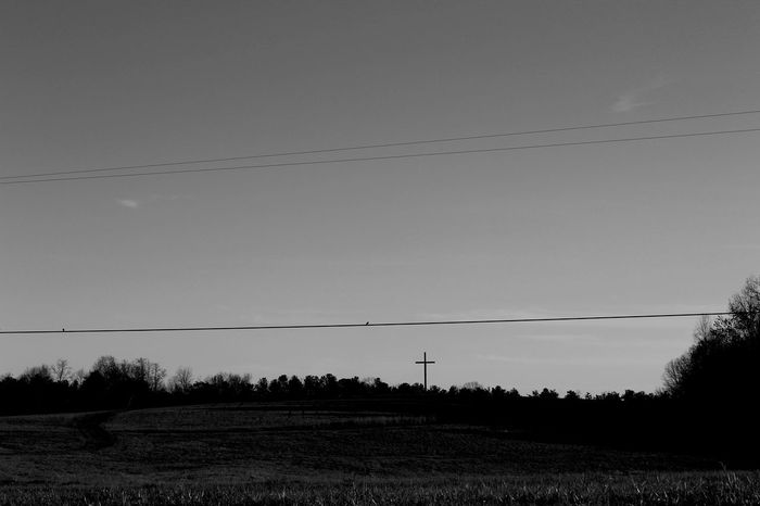 Atmosphere Black And White Black And White Photography Cross Field Mystery No People Scenery Scenery Shot Southern Gothic