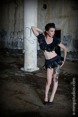 @mmpstudios_com @melvinmaya One Person Full Length Portrait Architecture Outdoors Graffiti Abandoned Photography Photographer Model Feathers Tattoos Gorgeous Beautiful Houston Front View Beauty Fashion HighHeels Cannon Tattooed Building Artistic